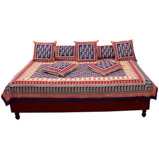 Gurukripa Shopee Jaipuri Leafy Print Pure Cotton Diwan BedSet DWSGKS107