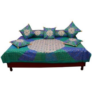 Gurukrpa Shopee Gold Print Floral Design Pure Cotton Diwan BedSet 108
