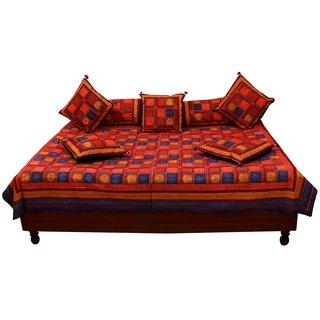 Gurukrpa shopee Jaipuri Bagru Print Pure Cotton Diwan BedSet DWSGKS109