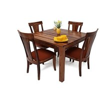 Altavista Nourish 4 Seater Dining Table Set (Teak Mahogany )
