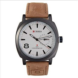 Men Curren White DIal Brown Belt  Analog Watch