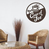 Coffee Sign Wall Decal Vintage Cup Of Joe - Vinyl Wall Stickers Art # 27