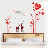 Romantic Red Love Sika Deer Tree DIY Removable Wall Stickers Wedding Room Living Room Home Decor Mural Decal Wallpaper