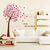 Removable DIY PVC Mural Pink Peach Tree Wall Sticker Living Room Sofa Background Kids Rooms Decals Poster Home Decor