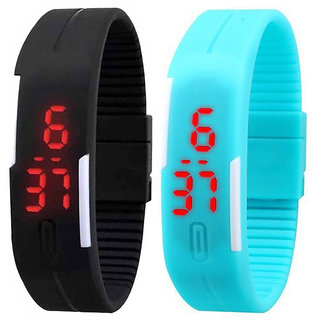 Jack Klein Combo Of Black Led Watch And Skyblue Led Watch