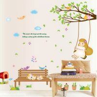 Cheap DIY Cartoon Swing Girl Vinyl Removable Kid Room DIY Wall Stickers Decal Environment Mural Decor