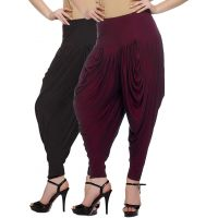 Pack of 2 Black And Maroon Viscose Dhoti