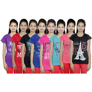 IndiWeaves Women's Cotton Printed T-Shirts (Pack of 8)