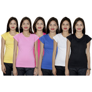 IndiWeaves Women's 6  Cotton Solid T-Shirts  (Pack of 6 T-Shirts)