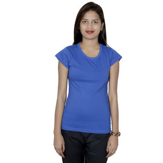 IndiWeaves Women Cotton Blue Plain T-Shirt