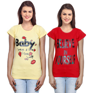 IndiWeaves Women Cotton T-Shirt Combo-2