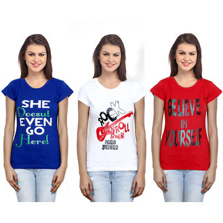 IndiWeaves Women  Cotton T-Shirt Combo-3