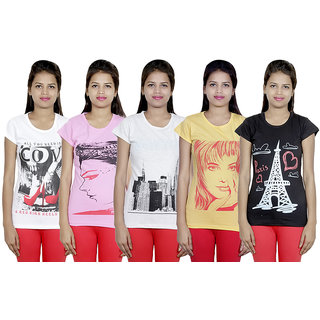 IndiWeaves Women Cotton T-Shirt(Pack Of 5 T-Shirt) Combo Offer