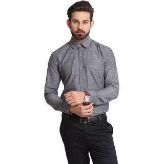 IRALZO Black Chambray Formal Men shirt