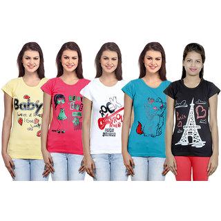 IndiWeaves Women Cotton T-Shirt(Pack Of 5 T-Shirt) Combo Offer