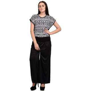 Rosytint Women's Black n White Graphic Print Kaftaan Top