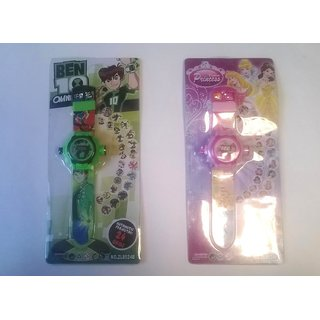 Combo For 24 Images Ben10 And Princes Projector Kids Watches