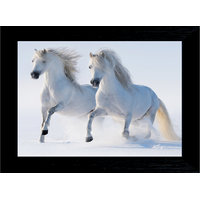 MLH Handicraft Gift Set Vastu Lucky White Running Horses With UV Print Canvas Painting