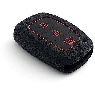 Autostark Silicone Car Key Remote Cover For Hyundai I20 Active 3 Button Smart Key (Black)