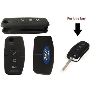 Autostark Silicone Key Cover For Ford Fiesta 3 Button Flip Key Cover