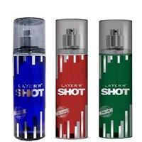 Layer'r Shot Deep Desire, Red Stallion, Royal Jade Deodorant (pack Of 3) 135ml Each