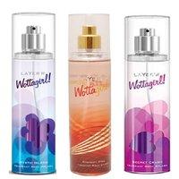 Layer'r Wottagirl Mystic Island, Crimson Chic, Secret Crush Deodorant (pack Of 3) 135ml Each