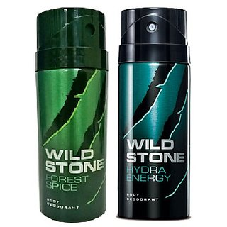 Wild Stone Forest Spice, Hydra Energy (Set of 2) 150ml each