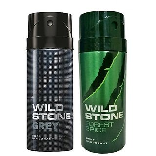 Wild Stone Grey, Forest Spice Body Deodrant 150ml Set of 2 150ml each