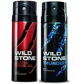 Wild Stone Thunder, Ultra Sensual Deodorant (Set of 2) 150ml each
