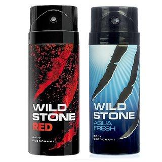 Wild Stone Red, Aqua Fresh Deodorant (Set of 2) 150ml each