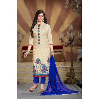 Thankar Cream  Multi Embroidery Chanderi Silk Dress Mateirial