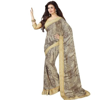 Thankar Cream  Brown Georgette Printed Saree