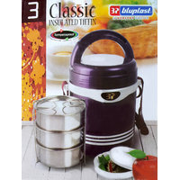 Bluplast Classic Insulated Tiffin Box (3 Steel + 1 Plastic Pickle Box)
