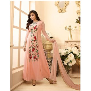 RapidDukan Semi-Stiched Peach Color Long Embroidered Anarkali Suit Dupatta MaterialSF788
