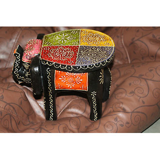 Aapkiduakan-Art-Shop-Handpainted-Durable-Wooden-Elephant-Stool-Showpiece-Antique Aapkiduakan-Art-Shop-Handpainted-Dura