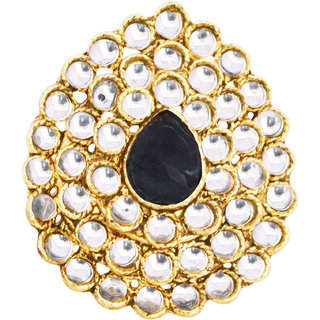 Oval Shaped Blue Stone Studded Kundan Ring By 24Karats
