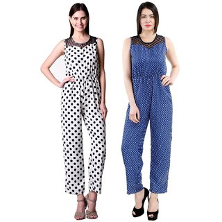 Westrobe Womens Nevy Polka Dot and White Dot Printed Jumpsuit Combo