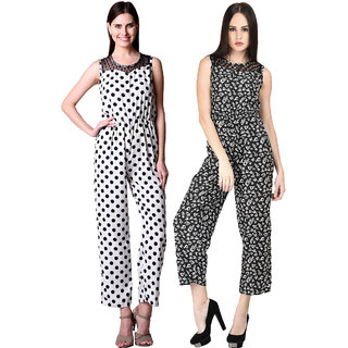 Westrobe Womens White Polka Dot and Black Floral Printed Jumpsuit Combo