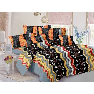 Valtellina Cotton Floral Black Double Bedsheet with 2 Contrast Pillow Covers(TC-129)