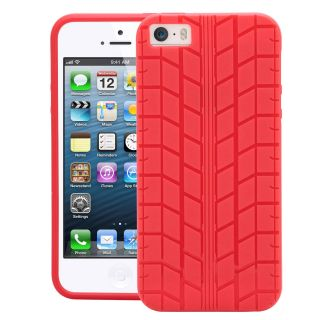 Apple iPhone 5s Case Cover  CUBIX Tyre Tread Series Slim Fit soft Tpu Gel Skin case back Cover Soft Jacket for Apple iPhone 5s (Red)