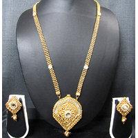 Beautiful Golden Long Pendant Stone Necklace Set