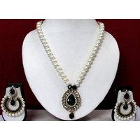 Black Drop Pendant Tilak Polki Necklace Set