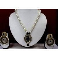 Black Drop Pendant Pearl Polki Necklace Set