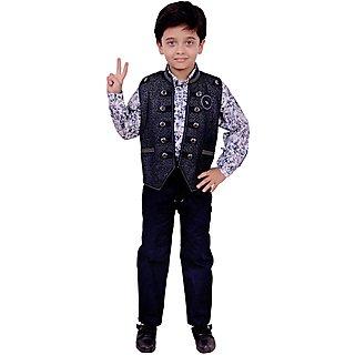Arshia Fashions Boys Shirt Waistcoat and Demin Set