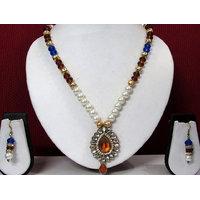 Brown Stone Pendant Drop Necklace Set