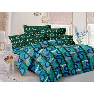 Valtellina Cotton Stripes Blue Double Bedsheet with 2 Contrast Pillow Covers(TC-129)