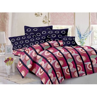 Valtellina Cotton Stripes Pink Double Bedsheet with 2 Contrast Pillow Covers(TC-129)