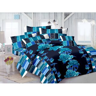 Valtellina Cotton Floral Blue Double Bedsheet with 2 Contrast Pillow Covers(TC-129)