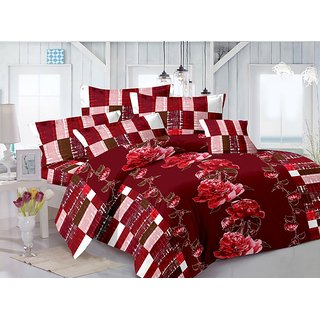 Valtellina Cotton Floral Maroon Double Bedsheet with 2 Contrast Pillow Covers(TC-129)