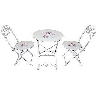 Mavi Beautiful White Rose Print OutdoorCafeteria Set 2 Chairs With 1 Table DOS001